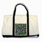 Colorful squares pattern                             Two Tone Tote Bag Front