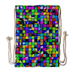 Colorful Squares Pattern                             Large Drawstring Bag