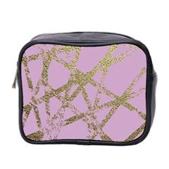 Modern,abstract,hand Painted, Gold Lines, Pink,decorative,contemporary,pattern,elegant,beautiful Mini Toiletries Bag 2 Side