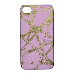 Modern,abstract,hand Painted, Gold Lines, Pink,decorative,contemporary,pattern,elegant,beautiful Apple Iphone 4/4s Hardshell Case With Stand