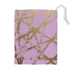 Modern,abstract,hand Painted, Gold Lines, Pink,decorative,contemporary,pattern,elegant,beautiful Drawstring Pouches (extra Large)
