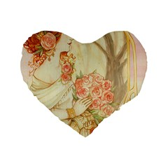 Beautiful Art Nouveau Lady Standard 16  Premium Flano Heart Shape Cushions