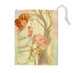Beautiful Art Nouveau Lady Drawstring Pouches (extra Large)