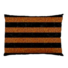 Stripes2 Black Marble & Rusted Metal Pillow Case