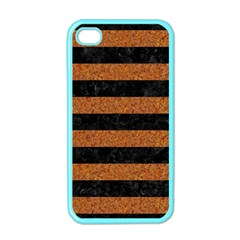 Stripes2 Black Marble & Rusted Metal Apple Iphone 4 Case (color)