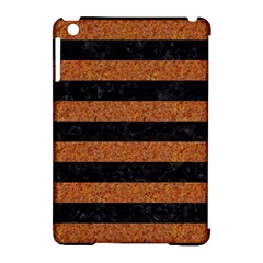 Stripes2 Black Marble & Rusted Metal Apple Ipad Mini Hardshell Case (compatible With Smart Cover)