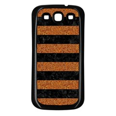 Stripes2 Black Marble & Rusted Metal Samsung Galaxy S3 Back Case (black)
