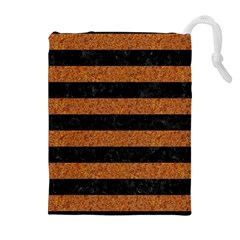Stripes2 Black Marble & Rusted Metal Drawstring Pouches (extra Large)