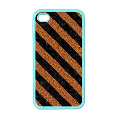 Stripes3 Black Marble & Rusted Metal Apple Iphone 4 Case (color)