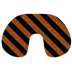 Stripes3 Black Marble & Rusted Metal Travel Neck Pillows