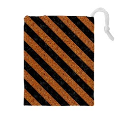 Stripes3 Black Marble & Rusted Metal Drawstring Pouches (extra Large)