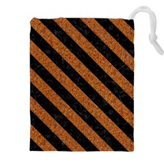 Stripes3 Black Marble & Rusted Metal Drawstring Pouches (xxl)