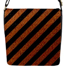 Stripes3 Black Marble & Rusted Metal (r) Flap Messenger Bag (s)