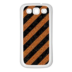 Stripes3 Black Marble & Rusted Metal (r) Samsung Galaxy S3 Back Case (white)
