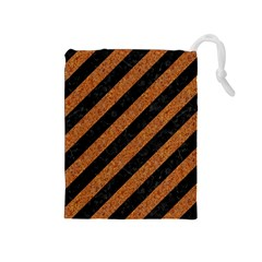 Stripes3 Black Marble & Rusted Metal (r) Drawstring Pouches (medium)