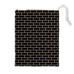 Brick1 Black Marble & Sand (r) Drawstring Pouches (extra Large)