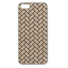 Brick2 Black Marble & Sand Apple Seamless Iphone 5 Case (clear)