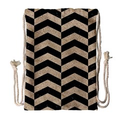 Chevron2 Black Marble & Sand Drawstring Bag (large)