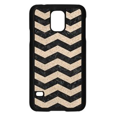 Chevron3 Black Marble & Sand Samsung Galaxy S5 Case (black)
