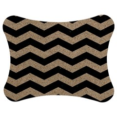 Chevron3 Black Marble & Sand Jigsaw Puzzle Photo Stand (bow)
