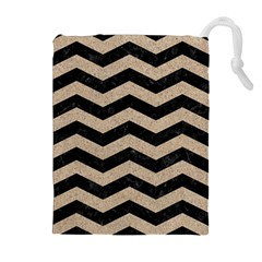 Chevron3 Black Marble & Sand Drawstring Pouches (extra Large)
