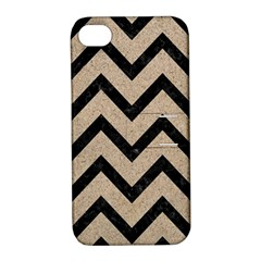 Chevron9 Black Marble & Sand Apple Iphone 4/4s Hardshell Case With Stand