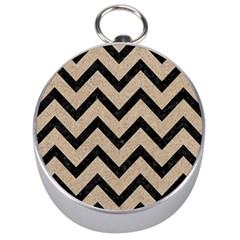 Chevron9 Black Marble & Sand Silver Compasses