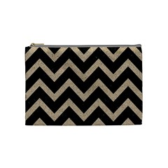 Chevron9 Black Marble & Sand (r) Cosmetic Bag (medium)