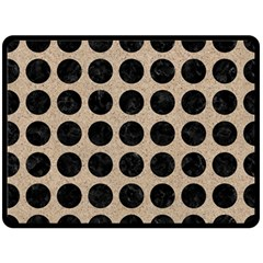 Circles1 Black Marble & Sand Fleece Blanket (large)