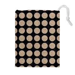 Circles1 Black Marble & Sand (r) Drawstring Pouches (extra Large)