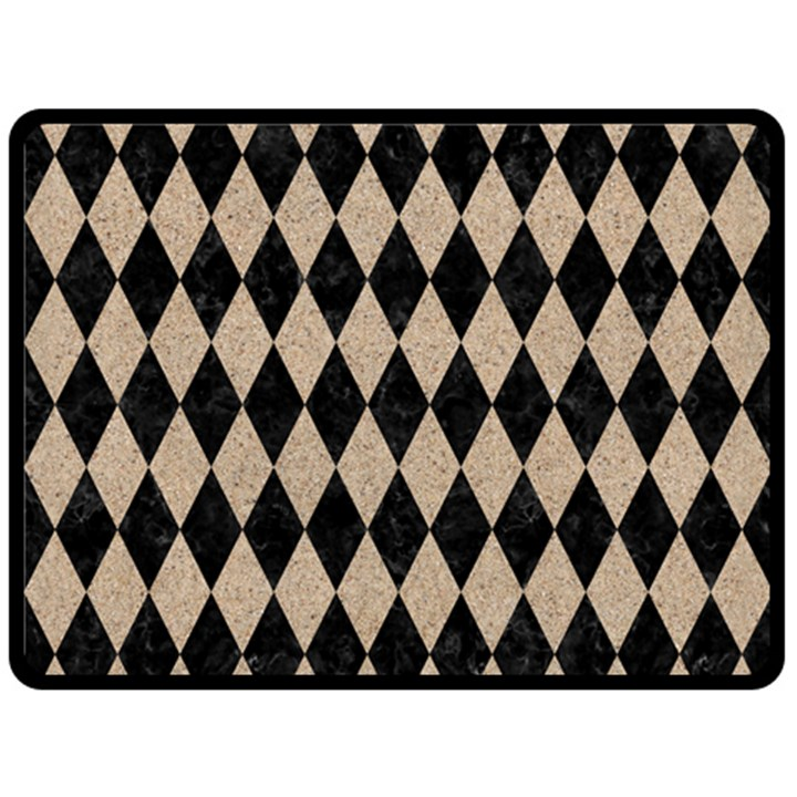 DIAMOND1 BLACK MARBLE & SAND Fleece Blanket (Large)