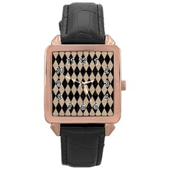 Diamond1 Black Marble & Sand Rose Gold Leather Watch