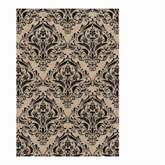 Damask1 Black Marble & Sand Small Garden Flag (two Sides)