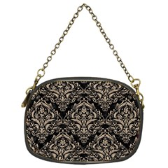 Damask1 Black Marble & Sand (r) Chain Purses (two Sides)