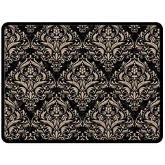 Damask1 Black Marble & Sand (r) Fleece Blanket (large)