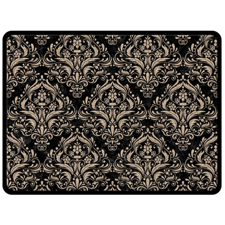 DAMASK1 BLACK MARBLE & SAND (R) Fleece Blanket (Large)