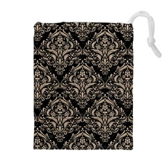 Damask1 Black Marble & Sand (r) Drawstring Pouches (extra Large)