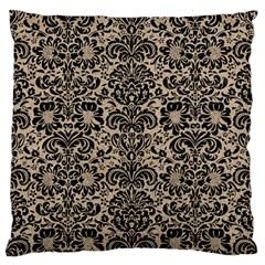 Damask2 Black Marble & Sand Large Flano Cushion Case (one Side)