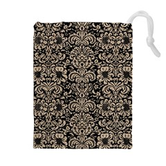 Damask2 Black Marble & Sand (r) Drawstring Pouches (extra Large)