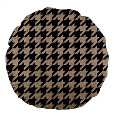 Houndstooth1 Black Marble & Sand Large 18  Premium Round Cushions