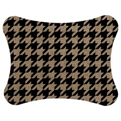 Houndstooth1 Black Marble & Sand Jigsaw Puzzle Photo Stand (bow)