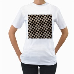 Houndstooth2 Black Marble & Sand Women s T Shirt (white) (two Sided)