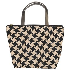 Houndstooth2 Black Marble & Sand Bucket Bags