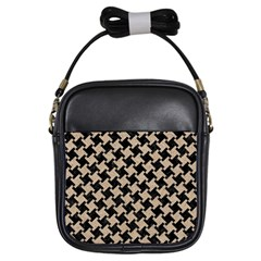 Houndstooth2 Black Marble & Sand Girls Sling Bags