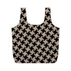 Houndstooth2 Black Marble & Sand Full Print Recycle Bags (m)