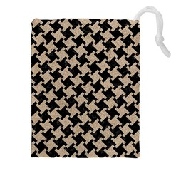 Houndstooth2 Black Marble & Sand Drawstring Pouches (xxl)