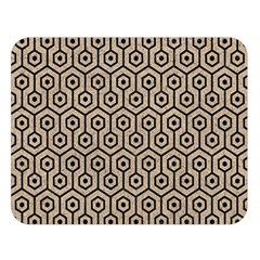 Hexagon1 Black Marble & Sand Double Sided Flano Blanket (large)