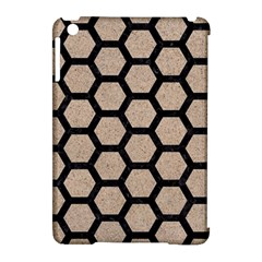 Hexagon2 Black Marble & Sand Apple Ipad Mini Hardshell Case (compatible With Smart Cover)