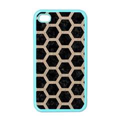 Hexagon2 Black Marble & Sand (r) Apple Iphone 4 Case (color)
