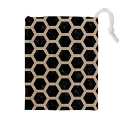 Hexagon2 Black Marble & Sand (r) Drawstring Pouches (extra Large)